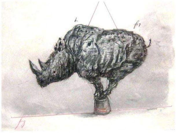 William Kentrdge, Mixed Media Rhino