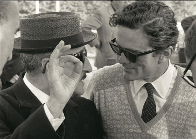 Pasolini e Totò sul set di Uccellacci e uccellini, 1966